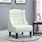 Linen Fabric Tufted Tall Wingback Accent Chair with Wooden Legs