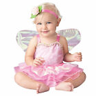 Baby Pink Fairy Pixie Halloween Costume Dress + Wings Infant 6 12 18 24 months