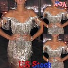 Women Sexy Halter Strap Off-shoulder Fringe Sparkly Party Dress Short Mini Skirt