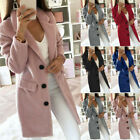 Women Winter Wool Lapel Long Coat Elegant Trench Parka Jacket Overcoat Outwear