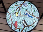 Garden Decorative Stone Floral With Birds Marble Round Table Top Inlay Art H3977