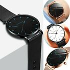 Fashion Men's Leather Band Analog Quartz Round Wrist Watch Men's Business Watch image