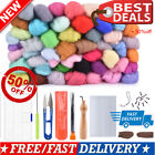 50 Colors Wool Soft Fibre Roving Set+ Needle Felting Kit Hand Craft Spinning DIY