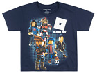 BOYS ROBLOX CHARACTERS T SHIRT GLOW IN THE DARK VIDEO GAME KIDS YOUTH TEE NAVY