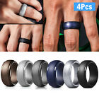 4PCS Silicone Wedding Engagement Ring Men Women Rubber Band Gym Sport Flexible