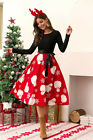 Womens Christmas Midi Swing Dress Ladies Long Sleeve Xmas Party Skater Dresses