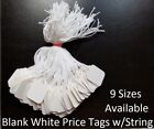Blank White Merchandise Price Tags w/ String Retail Jewelry Strung Large Small
