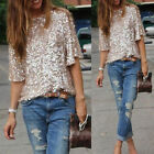 Women Sequins Summer Loose Top Short Sleeve Blouse Ladies Casual Tops T-Shirt