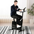 2-in-1 Stationary Exercise Bike and Tabletop Workstation with LCD Monitor
