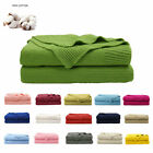 Cotton Throw Blanket Textured Solid Soft Sofa Cover Decorative Knitted Blanket image