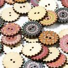 100 Pcs Wooden 2 Holes Round Flower Wood Sewing Buttons Diy Craft Scrapbooking