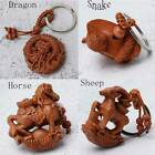 3D Wooden Carving Chinese Twelve Zodiac Animal Statue Key Chain Pendant Gift S