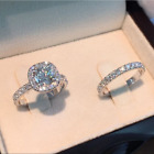 2ps/set Princess White Sapphire 925 Silver Rings Set Bride Wedding Jewelry Gifts