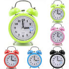 Silent Analog Alarm Clock Retro Classic Night Light Extra Loud Twin Bell Vintage