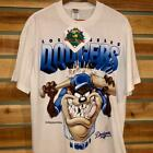 DEADSTOCK VTG 90s Looney Tunes Taz LA Dodgers Baseball SINGLE STITCH T Shirt L image