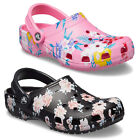 Crocs Classic Printed Clogs Womens Unisex Lightweight Padded Slip On Sandals