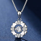 Women Rotating Cubic Zircon Inlaid Heart Pendant Necklace Clavicle Chain Code