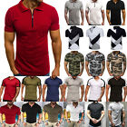 Mens Short Sleeve Polo Shirts Casual Slim Fit Golf Top Summer T-shirt Tee Blouse image