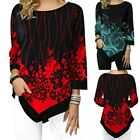 Women Floral Print Loose Irregular Blouse Long Sleeve T-Shirt Tops Ladies