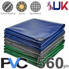560GSM Heavy Duty Waterproof PVC Tarps Tarpaulin Cover Sheet Tough Lorry Tarp UK