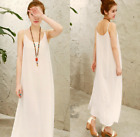Lady Cotton Linen Strappy Full Slips Long Dress Chemise Petticoat White