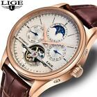 LIGE Brand Men Watches Automatic Mechanical Watch Tourbillon Sport Clock Leather