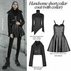 PUNK RAVE Women Short Collar Coat with Flare Sleeve Woolen Black Thick Jackets