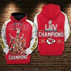 Super Bowl LIV Kansas City Chiefs Champions 54 3D Players Hoodie Full printing $40.99 USD on eBay