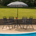 6 Piece Black Patio Garden Set with Table, Umbrella and 4 Folding Chairs