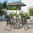 6 Piece Brown Patio Garden Set With Table, Tan Umbrella And 4 Folding Chairs