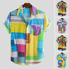 Mens African Ethnic Pattern Printed Short Sleeve Button Open Shirt T Shirts Tops