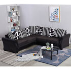 L-Shaped Leather&Fabric Large Coner Sofa Armchair Chair Couch Settee Furniture
