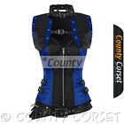 Full Steel Boned Gothic Overbust Steampunk Black Blue Satin Bolero Jacket Corset