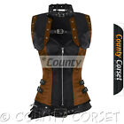 Full Steel Bone Gothic Overbust Steampunk Black Brown Satin Bolero Jacket Corset