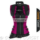 Overbust Gothic Bolero Steampunk Steel Boned Black Hot Pink Satin Jacket Corset