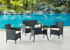 Rattan Garden Furniture Set Outdoor Dining Table Chair Optional Bench Grey Black