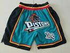 Detroit Pistons basketball Teal shorts All sewn