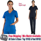 TRU UNIFORM Scrubs Set Women's Curved V-Neck Top  Half Elastic Pant 10102/90102