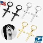 1Pair Men's Women Stainless Steel Slim Cross Drop Dangle Huggie Hinged Earrings image