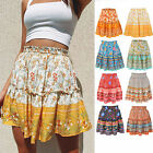 Boho Floral A-line Women Skirt Elastic High Waist Vintage Pleated Womens Skirts