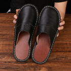 Men's Black Genuine Cowhide Leather Indoor Slippers Sandals Scuffs Mules