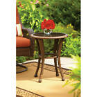 """Outdoor Wicker Side Table 20"""" Round Pool Coffee Table Brown Rattan $90.26 USD on eBay"""
