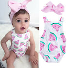 US Cute Newborn Baby Girl Clothes Watermelon Romper Jumpsuit 2PCS Outfit Sunsuit