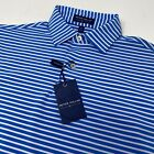 Peter Millar Crown Crafted Tour Fit BC/W Blue White Striped Golf Polo Shirt New