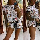 ZC3694 Casual Woman Shorts Set Coffee Print O-Neck short sleeve Top Mini Shorts