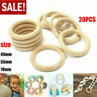 20pcs Baby Natural Teething Wood Rings Wooden Diy Crafts For Macrame Jewellery
