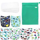 Wegreeco Washable Reusable Baby Cloth Pocket Diapers 6 Pack + 6 Bamboo Inserts (