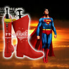 Man's Superman Cosplay Red Leather Boots Customized Halloween Shoes