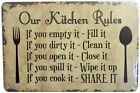 Retro Vintage Tin Sign for Home Our Kitchen Rules' Metal Plate Wall Decor