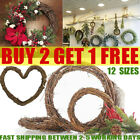 UK Christmas Artificial Vine Ring Wreath Rattan Wicker Garland Xmas Party Decor